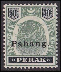 Pahang Malaya : 1898 Tiger 50c green and black.