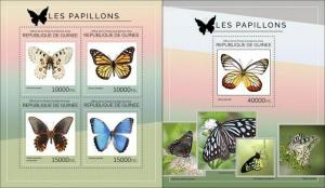 Guinea 2014 butterflies insects klb+s/s MNH