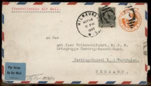 USA 1940 24c Harrison Prexie Transatlantic WHW Germany Cover 86053