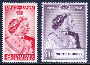 NORTH BORNEO — SCOTT 238-239 — 1948 SILVER WEDDING SET — MH — SCV $35.30