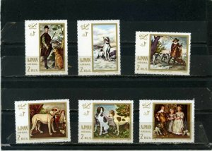 AJMAN 1968 PAINTINGS OF HUNTING DOGS SET OF 6 STAMPS MNH