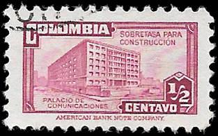 1945 COLOMBIA SC# RA21 -  CV $.25 - USED ng - GOOD SPACE FILLING STAMP