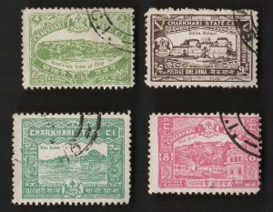 4  All Different CHARKHARI Stamps  (INDIAN STATE) (lot B)
