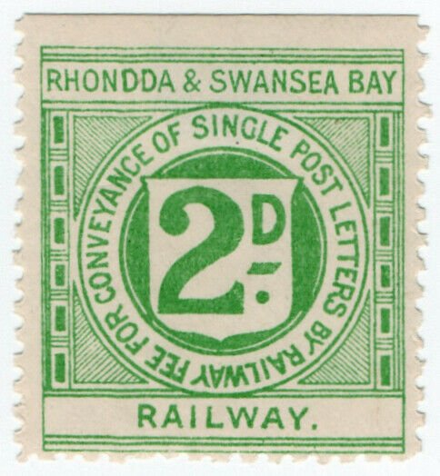 (I.B) Rhondda & Swansea Bay Railway : Letter Stamp 2d