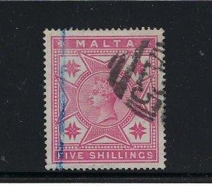 MALTA SCOTT #14 1886 VICTORIA 5 SHILLING (ROSE)- USED