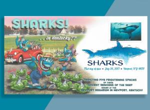 Bennett Cachetoons FDC for Great White SHARK! . .  in Kentucky, of all places!