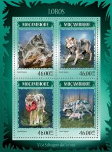 Mozambique 2014 Wolves on Stamps  4 Stamp Sheet 13A-1503
