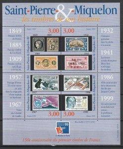 1999 St. Pierre and Miquelon - Sc 682 - MNH VF - 1 MS - PhilexFrance 99