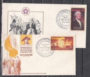 Ecuador, Scott cat. C589-590. American Bicentennial issue on 2 First day covers.