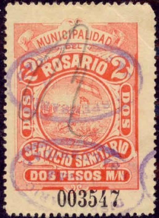 Rosario Argentina 1900 2P Hooker Tax Stamp w/ 2 Enferma oval handstamps
