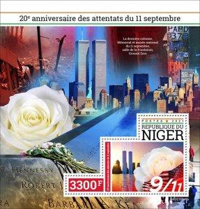 NIGER - 2021 - 9/11 Attacks - Perf Souv Sheet - Mint Never Hinged