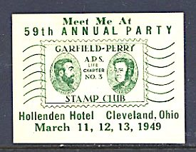 USA Philatelic Cinderella Garfield Perry Stamp Club Party Cleveland 1949 Green