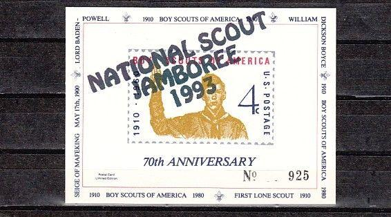 United States, 1980 Private issue. 70th Anniv. of Scouting, o/p White Card.