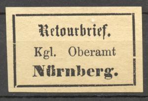 Bavaria,1869 Retourmarken, Nuernberg, Antiqua, period after brief Sem 2.4,