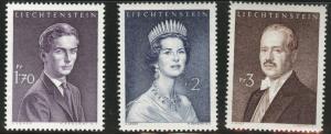 LIECHTENSTEIN Scott 356A-358 MNH** 1960-1964 Royalty set