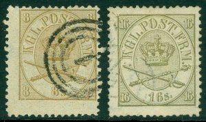 EDW1949SELL : DENMARK 1864-68 Sc #14-15 VF Used Choice w/ nice cancels. Cat $270