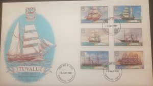 O -r) 1981 TUVALU, SHIPS ISSUE, ELIZABETH - SHOWN - REBECCA - BASILISK -