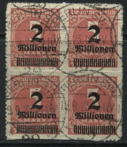 Germany 1923 2 million marks on 5 thousand marks in a block of 4 used