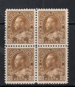 Canada #118 Extra Fine Mint Very Lightly Hinged Block