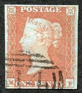 1841 Penny Red (MF) Plate 87 Superb Four Margin Clear Profile