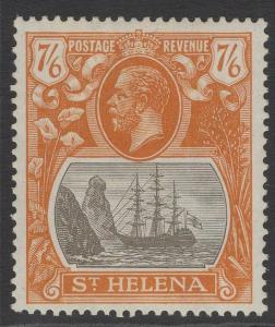 ST.HELENA SG112 1922 7/6 GREY-BROWN & YELLOW-ORANGE MTD MINT