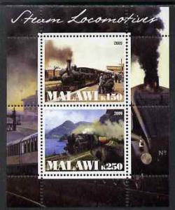 Malawi 2009 Transport Train Railway Steam Locomotives Stamps