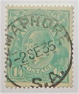 Australia 124. 1932 1/4 Light blue KGV, used