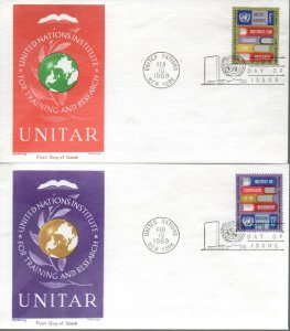 UN NY FDC #192-193 UNITAR, Cachet Craft (1233)