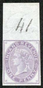 1d Postal Fiscal Marginal Imprimatur Plate 41 Ex Lord Crawford