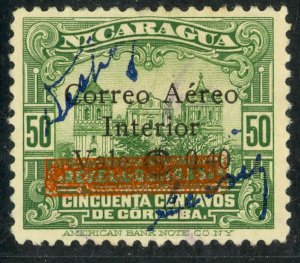 NICARAGUA 1936 40c on 50c Leon Cathedral Surcharge Issue RESELLO Ovpt Sc C132 FU