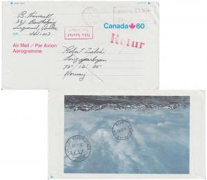 Canada 60c Maple Leaf Air Letter with reverse view showing mountains 1982 J4W...