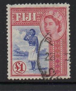 Fiji Sc 162 1954 £1 QE II & Bugler stamp used
