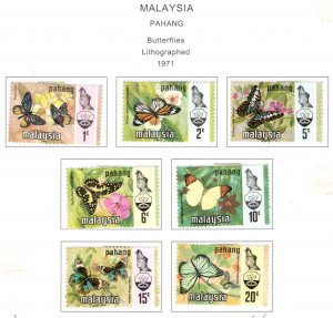 Malaysia - Pahang Scott 90-96 MH* Butterfly stamp