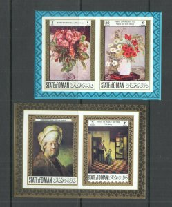 IMPERFORATE OMAN ART PAINTINGS RENOIR REMBRANDT FLORA FLOWERS 2BL MNH
