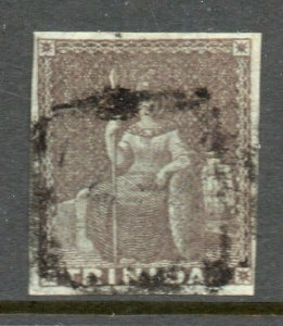 Trinidad 1851 Britannia (1d) brownish grey on blued paper imperf SG 6 used