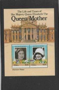 TUVALU-FUNAFUTI #49 1985 QUEEN MOTHER 85TH BIRTH MINT VF NH O.G S/S aa