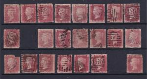 Great Britain some used QV 1d reds plates 71-96 but missing 5 numbers