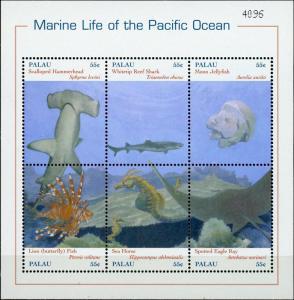 Palau #588 Pacific Ocean Marine Life Sheet of 6 MNH