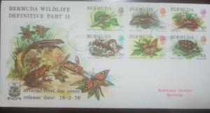 O) 1979 BERMUDA, WILDLIFE-WHISTLING TREE FROG-SPINY LOBSTER-LAND CRAB-SKINK-BUTT