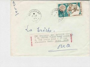 republique du dahomey 1974 football airmail stamps cover ref 20220