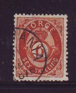 Norway Sc 20 1875 6sk  post horn stamp used