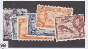 CAYMAN ISLANDS (MK6540) # 104-106,108a,114-115 VF-MH VARp,1sh 1938-47 KGVI PEACE