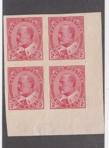 CANADA # 90a VF-MNH 2 MLH BLOCK OF 4 KEV11 2cts IMPERFS CAT VALUE $320
