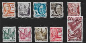 Germany (Wurttemberg) 8N28-37 (without pf) Various set MNH (z1)