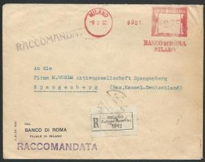 ITALY 1932 Registered cover Bank of Milan meter to Germany.................13068