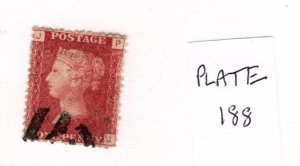Great Britain 1858-79 Victoria Penny Red (Plate 188) [Used]