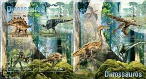 Mozambique 2013 dinosaurs prehistoric animals klb+s/s MNH