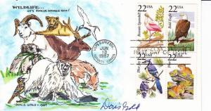 FDC: Wildlife, Sc#2308-09, 2318-19, H/P & Signed by Doris Gold (S10026)
