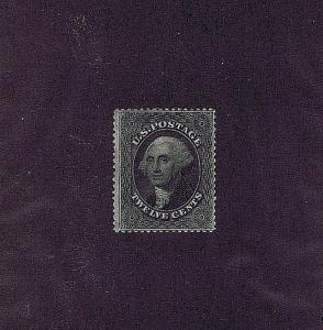 SC# 36B UNUSED ORIG GUM PREVIOUS HINGED 12 CENT WASHINGTON, 1860, 2018 PSAG CERT