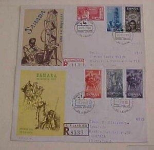 SPAIN SAHARA REGISTERED 1963, 1965 CAMEL  CACHET  ADDRESSED